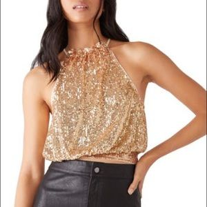 Free People Lights Out Gold Sequin Halter Top M